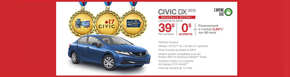 Promotions Honda Civic Berline Montréal